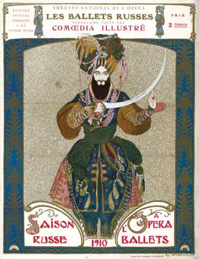 Cover of the official program for Ballets Russes, Theatre National de l'Opera, Paris (1910).