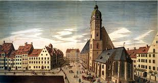 A view of Leipzig, Germany, showing St. Thomas Church with its courtyard and school. Line engraving, c1735, by J.G. Schreiber.