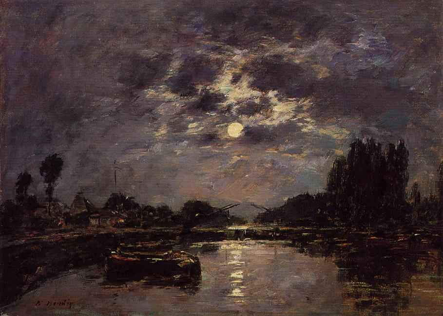 The Effect of Moonlight (also known as St. Valery Canal)Eugène-Louis Boudin (1891)