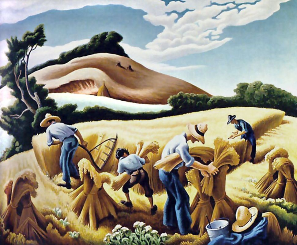 Cradling Wheat (1938), by Thomas Hart Benton (1889–1975) Tempera and oil on board.  The painting is in the St. Louis Art Museum.
