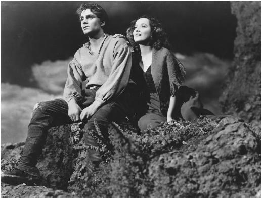 Laurence Olivier and Merle Oberon, as Heathcliff and Cathy, in William Wyler's 1939 release of Wuthering Heights
