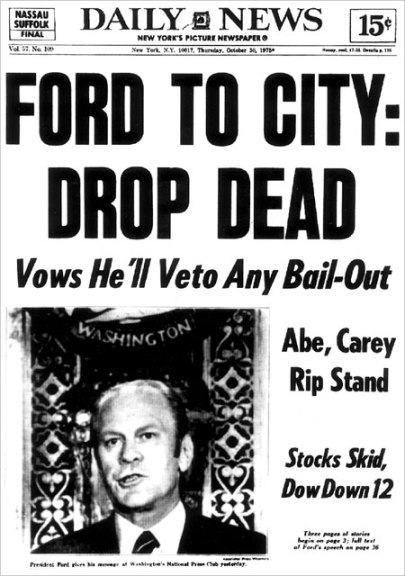The Daily News front page on Oct. 30, 1975, after President Ford said that he would not approve federal help for the city.