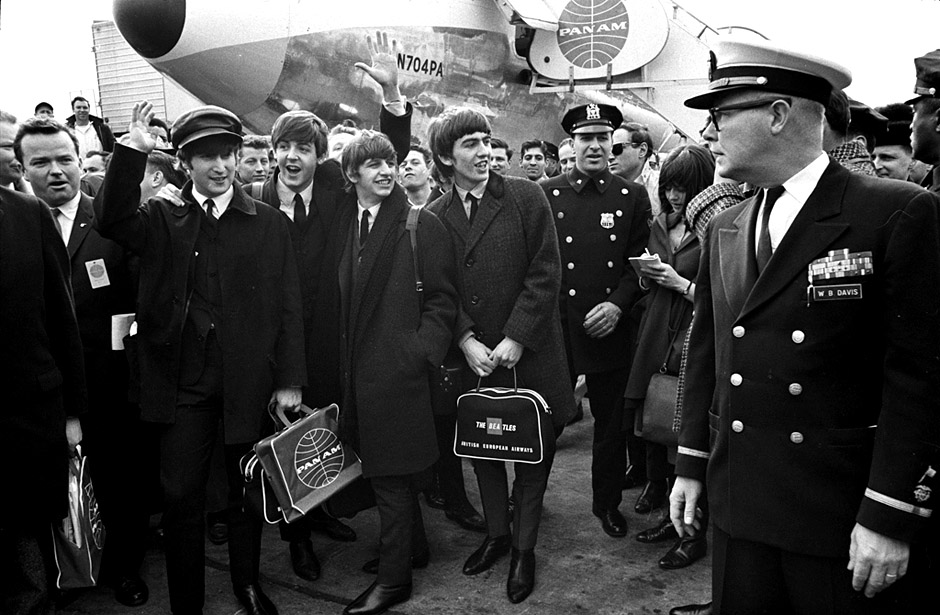 The Beatles arrive at John F. Kennedy airport, New York City on Feb. 7, 1964. PHOTOGRAPH BY: © Bill Eppridge