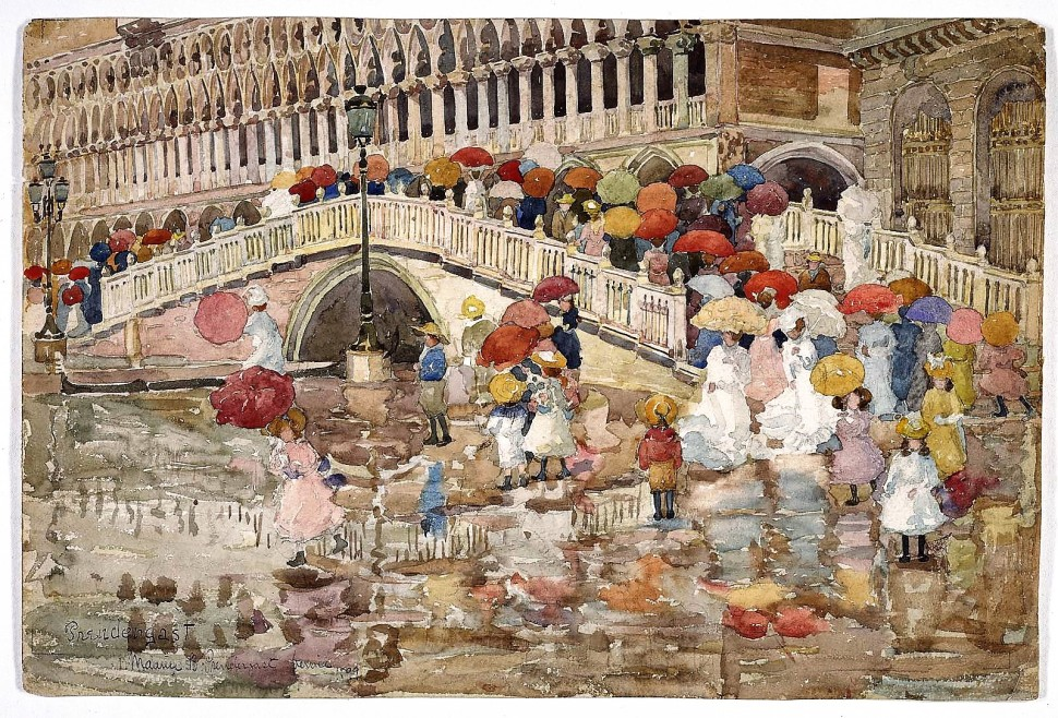 Prendergast_Umbrellas in the rain